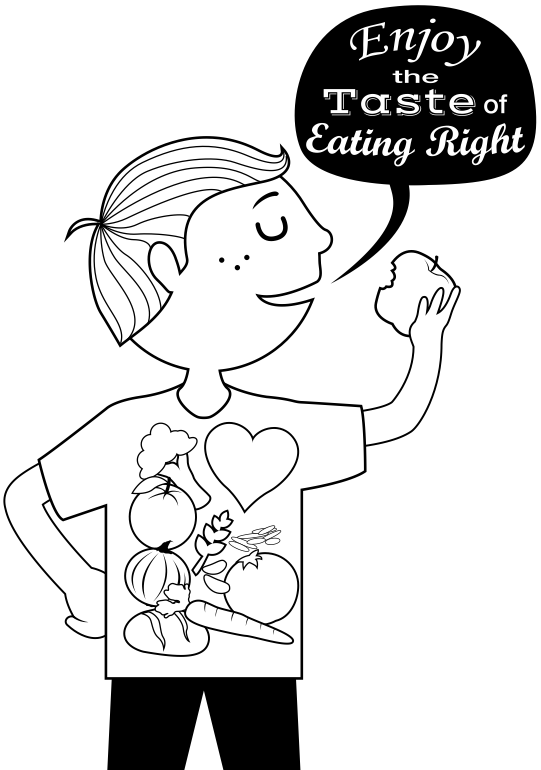 healthy heart coloring pages | Free Handouts: Enjoy the Taste of Eating Right ...