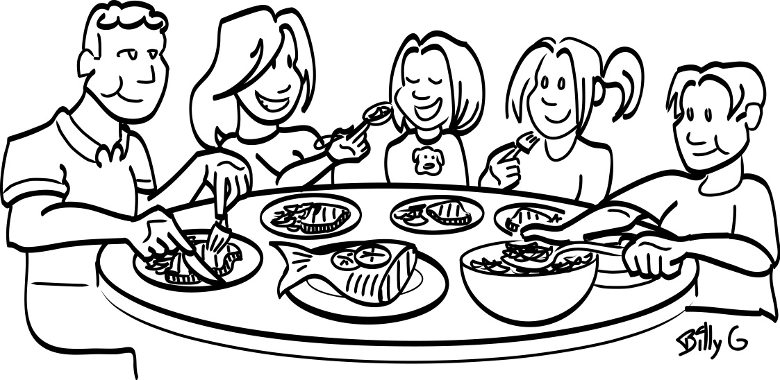 Family Meal Black And White Clipart
