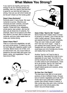 Kids Nutrition Handout