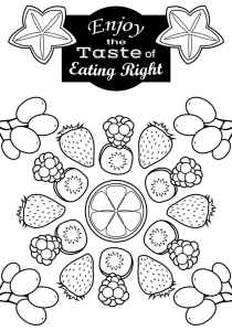 Enjoy the Taste of Eating Right Coloring Page Two