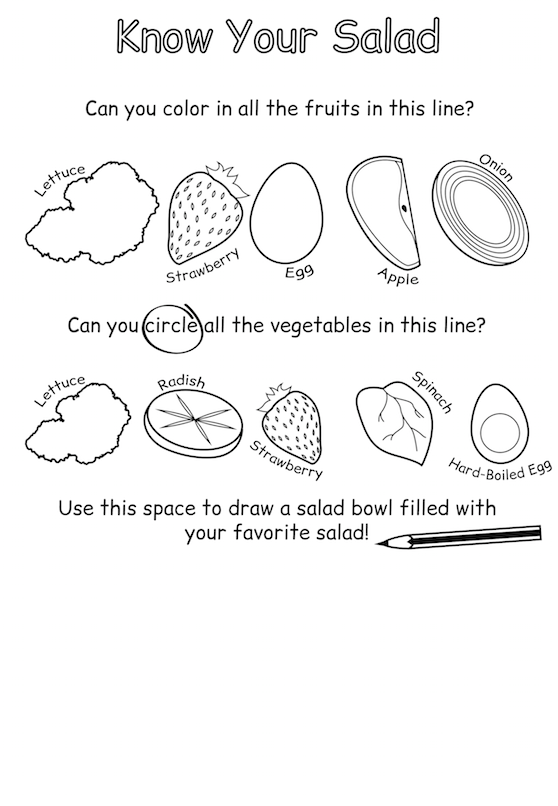 Salad Worksheet