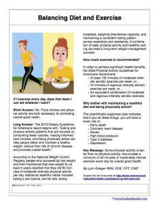 Balancing Diet and Exercise